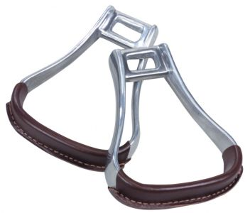 Aluminium Leather Covered Two Bar Oxbow Stirrup Irons