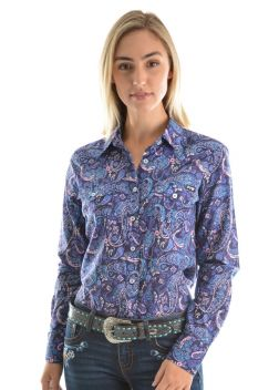 Womens Penelope Print Long Sleeve Shirt